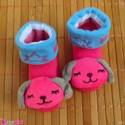 جوراب نوزاد عروسکی سرخابی سگ Baby cartoon socks