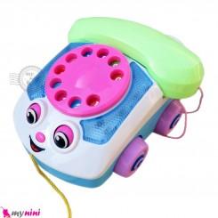 اسباب بازی ماشین تلفن موزیکال سفید سبز Telephone music car