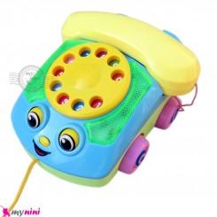 اسباب بازی ماشین تلفن موزیکال زرد و آبی Telephone music car