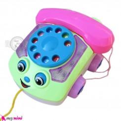 اسباب بازی ماشین تلفن موزیکال سبز و صورتی Telephone music car