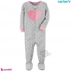 سرهمی کارترز اورجینال نخ پنبه طوسی قلب carter's pajamas