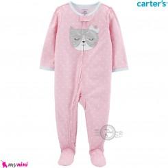 سرهمی کارترز اورجینال نخ پنبه صورتی خالدار گربه carter's pajamas