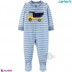 سرهمی کارترز اورجینال نخ پنبه آبی راه راه کامیون carter's pajamas