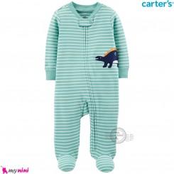 سرهمی کارترز اورجینال نخ پنبه سبز راه راه دایناسور carter's pajamas