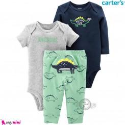 لباس کارترز 3 تکه اورجینال 2 عدد بادی و شلوار طوسی سرمه ای دایناسور Carter's kids clothes set