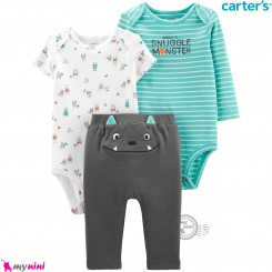 لباس کارترز 3 تکه اورجینال 2 عدد بادی و شلوار غول Carter's kids clothes set