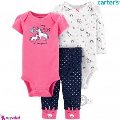 لباس کارترز 3 تکه اورجینال 2 عدد بادی و شلوار صورتی سرمه ای یونی کورن Carter's kids clothes set