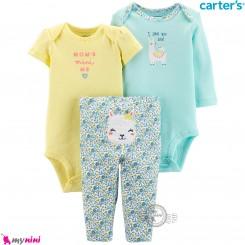 لباس کارترز 3 تکه اورجینال 2 عدد بادی و شلوار لاما Carter's kids clothes set