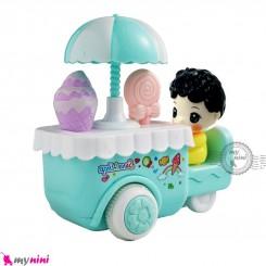 اسباب بازی ماشین بستنی فروش قدرتی سبزآبی Baby friction ice cream van