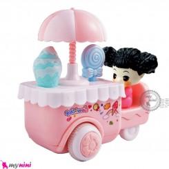 اسباب بازی ماشین بستنی فروش قدرتی صورتی Baby friction ice cream van