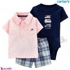 لباس کارترز اورجینال پسرانه 3 تکه شلوارک و بادی کوتاه سرمه ای و صورتی  Carter's kids clothes set