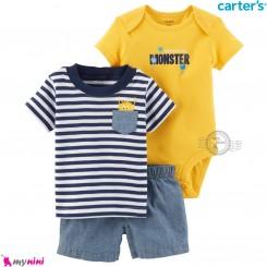 لباس کارترز اورجینال پسرانه 3 تکه شلوارک لی و بادی کوتاه زرد وروجک Carter's kids clothes set