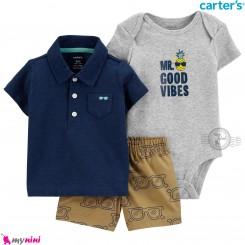 لباس کارترز اورجینال پسرانه 3 تکه شلوارک و بادی کوتاه طوسی و سرمه ای یقه دار  Carter's kids clothes set