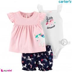 لباس کارترز اورجینال دخترانه 3 تکه شلوارک و بادی کوتاه سفید و صورتی یونی کورن  Carter's kids clothes set
