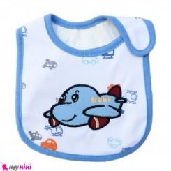 پیشبند نوزاد و کودک نخی آبی هواپیما سه لایه baby cotton Bib