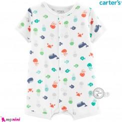 رامپرز کارترز اورجینال نخ پنبه ای حیوانات دریایی Carter's baby rompers