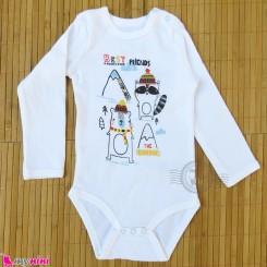 بلوز آستین بلند زیردکمه دار بچه گانه سفید راکون مارک پپکو بِیبی pepco baby long sleeve bodysuits