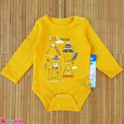 بلوز آستین بلند زیردکمه دار بچه گانه زرد راکون مارک پپکو بِیبی pepco baby long sleeve bodysuits