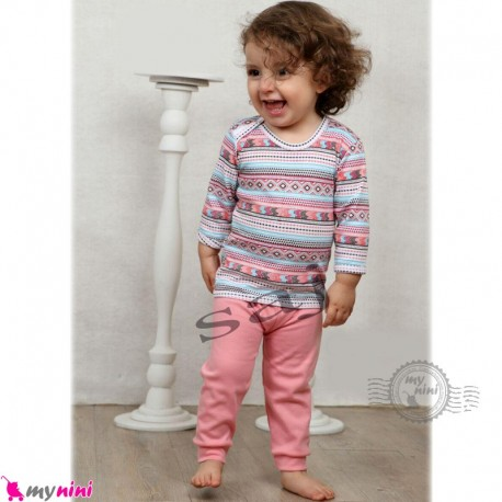 بلوز و شلوار نوزاد و کودک نخ پنبه ای طرح جاجیم Baby clothes set