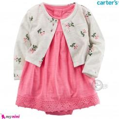 کت و سارافون کارترز اورجینال طوسی صورتی گیپوردار Carter's Bodysuit Dress & Cardigan Set