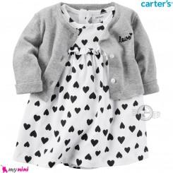 کت و سارافون کارترز اورجینال طوسی سفید قلبی Carter's Bodysuit Dress & Cardigan Set