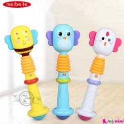 جغجغه بوقی نوزاد کارتونی و رنگارنگ 2 کاره مارک میبیل Meibeile animals hand rods