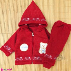 ست سویشرت و شلوار نوزادی بافتنی رنگ قرمز خرسی baby warm clothes set