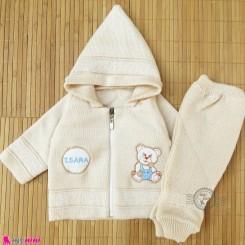 ست سویشرت و شلوار نوزادی بافتنی رنگ کرم خرسی baby warm clothes set