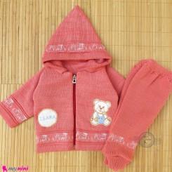 ست سویشرت و شلوار نوزادی بافتنی رنگ مرجانی خرسی baby warm clothes set