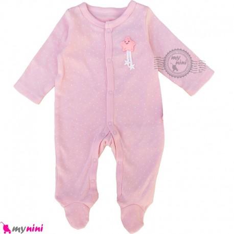 ست سرهمی و کلاه نوزاد و کودک نخ پنبه ای مارک اورجینال این اکستنسو صورتی ستاره Inextenso baby bodysuit