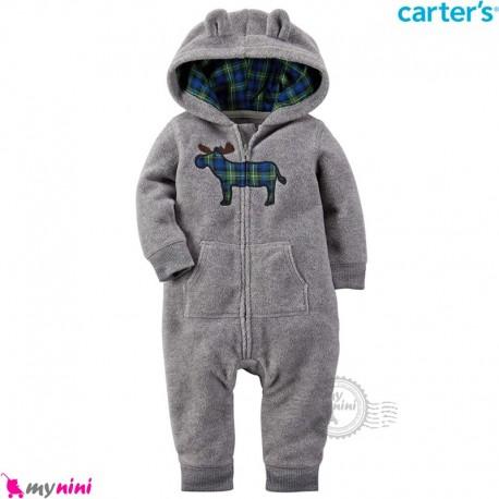 سرهمی کلاهدار کارترز اورجینال گرم و مخملی طوسی گوزن چهارخانه carter's baby hooded jumpsuits