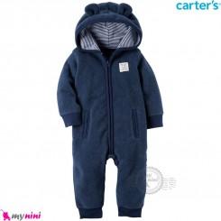 سرهمی کلاهدار کارترز اورجینال گرم و مخملی سرمه ای گوش دار carter's baby hooded jumpsuits