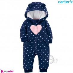 سرهمی کلاهدار کارترز اورجینال گرم و مخملی سرمه ای قلب carter's baby hooded jumpsuits