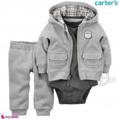 لباس کارترز اورجینال 3 تکه گرم سویشرت طوسی بادی نوک مدادی Carter's baby boy hooded cardigan set