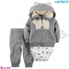 3 تکه لباس کارترز اورجینال گرم سویشرت طوسی خرس قطبی Carter's baby boy hooded cardigan set