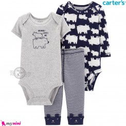 لباس کارترز 3 تکه اورجینال 2 عدد بادی و شلوار سرمه ای طوسی خرس قطبی Carter's kids clothes set