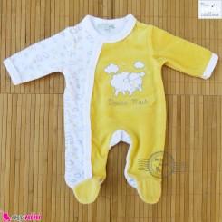 سرهمی مخمل آبی فیل و زرافه نوزاد و کودک بالِدی Baledi Baby sleepsuit