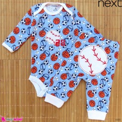 ست بادی آستین بلند و شلوار مارک نکست نخ پنبه ای آبی توپ 0 تا 3 ماه Next baby clothes set