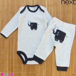 ست بادی آستین بلند و شلوار مارک نکست نخ پنبه ای طوسی راه راه فیل 0 تا 3 ماه Next baby clothes set