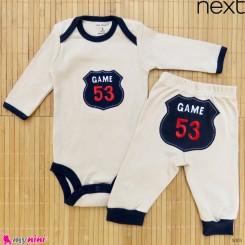 ست بادی آستین بلند و شلوار مارک نکست نخ پنبه ای نسکافه ای سرمه ای 0 تا 3 ماه Next baby clothes set