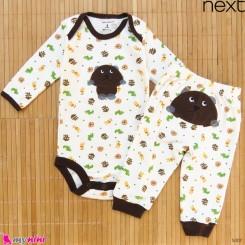 ست بادی آستین بلند و شلوار مارک نکست نخ پنبه ای حیوانات 3 تا 6 ماه Next baby clothes set