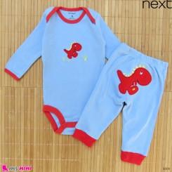 ست بادی آستین بلند و شلوار مارک نکست نخ پنبه ای آبی دایناسور 3 تا 6 ماه Next baby clothes set