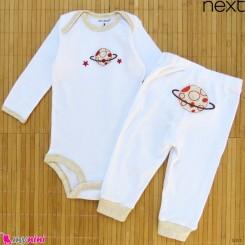 ست بادی آستین بلند و شلوار مارک نکست نخ پنبه ای سفید فضایی 6 تا 9 ماه Next baby clothes set