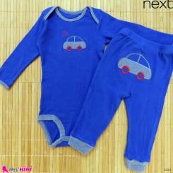 ست بادی آستین بلند و شلوار مارک نکست نخ پنبه ای آبی ماشین 9 تا 12 ماه Next baby clothes set