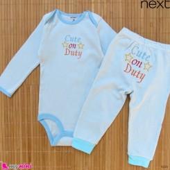 ست بادی آستین بلند و شلوار مارک نکست نخ پنبه ای آبی کیوت 12 تا 18 ماه Next baby clothes set