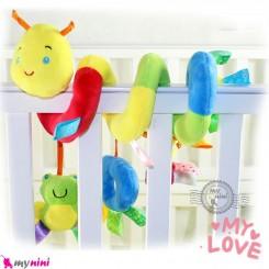 عروسک آویز نوزاد و کودک پولیشی کِرم هپی مانکی baby activity spiral plush toy سیسمونی