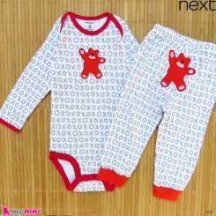 ست بادی آستین بلند و شلوار مارک نکست نخ پنبه ای طوسی قرمز خرس 12 تا 18 ماه Next baby clothes set