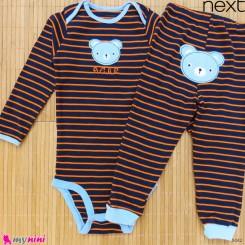 ست بادی آستین بلند و شلوار مارک نکست نخ پنبه ای سرمه ای نارنجی خرس 3 تا 4 سال Next baby clothes set