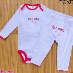 ست بادی آستین بلند و شلوار مارک نکست نخ پنبه ای راه راه یاسی 12 تا 18 ماه Next baby clothes set