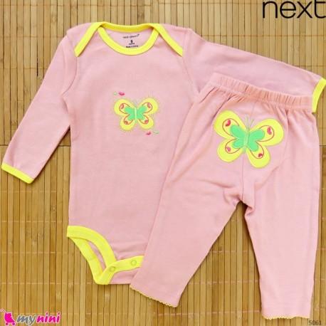 ست بادی آستین بلند و شلوار مارک نکست نخ پنبه ای کالباسی پروانه 6 تا 9 Next baby clothes set